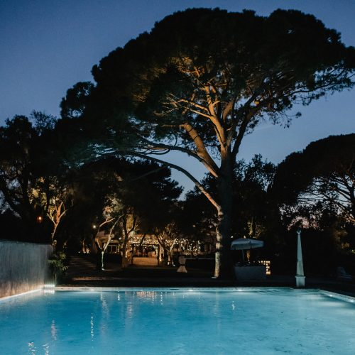 bastide du Roy Pool and garden at night